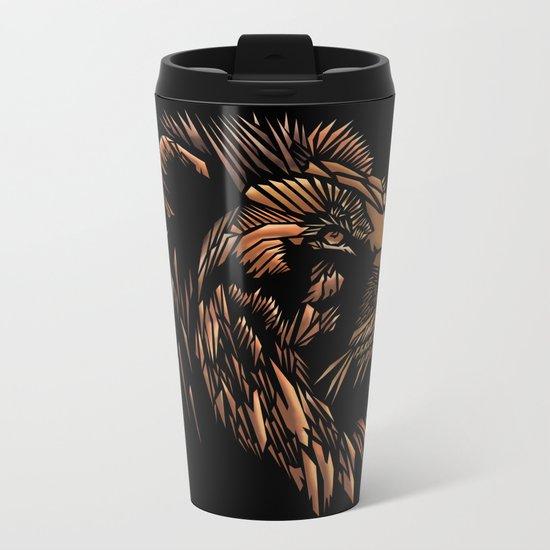 Lion Abstract Illustration Metal Travel Mug