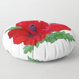 Red oriental poppies Floor Pillow