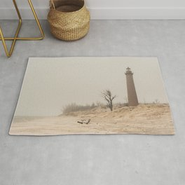 Little Sable Point Lighthouse Lake Michigan Fog Sand Winter Rug