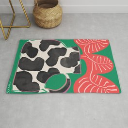 Bright Vase with Cow Pattern and Red Fern Rug
