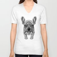 frenchie V-neck T-shirts featuring Frenchie by BIOWORKZ