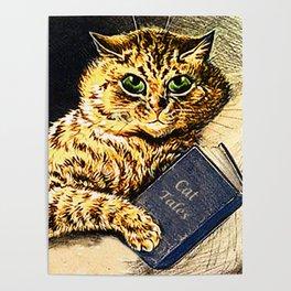 """Cat Tales"" Cat Reading Book - Louis Wain Poster"