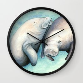 Manatee Love Wall Clock