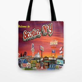 'Welcome To Scotia' Digital Photo Collage made with Macintosh Preview and Microsoft Paint Tote Bag