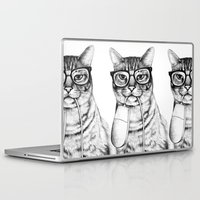 hipster Laptop & iPad Skins featuring Mac Cat by florever