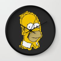 homer Wall Clocks featuring Homer Simpson by Osman SARGIN