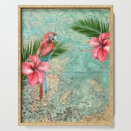 Tropical Map Serving Tray