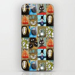 Studio Ghibli Collage - Calcifer, Jiji, Turnip, No Face, Markl, Kodama, Cat Bus & Soot Sprites iPhone Skin