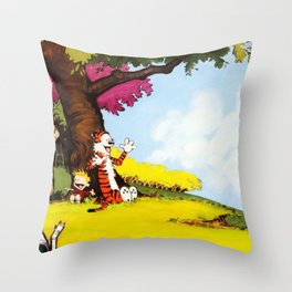 Calvin And Hobbes Holiday Throw Pillow