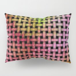 Pink and Green Wooden Weave Pattern Pillow Sham
