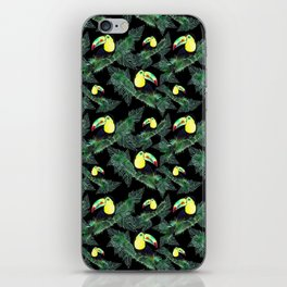 Happy Toucans And Tropical Leaves-Pattern iPhone Skin
