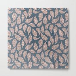 Spiral Leaves Pattern Pink and Navy Metal Print