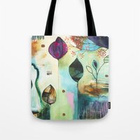 "flora bowley Tote Bags featuring ""Abundance"" Original Painting by Flora Bowley  by Flora Bowley"