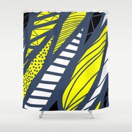 Geometric mix / navy & yellow Shower Curtain