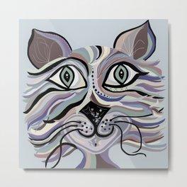 Denim Cat Metal Print