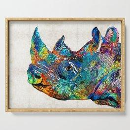 Rhino Rhinoceros Art - Looking Up - By Sharon Cummings Serving Tray