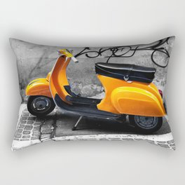 Orange Vespa in Bologna Black and White Photography Rectangular Pillow