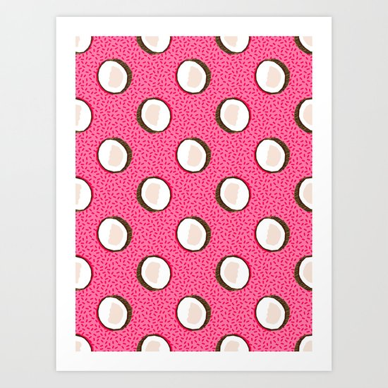 Coconuts memphis pattern retro 80s throwback style classic tropical summer vibes Art Print