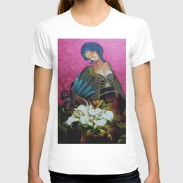 Flower Seller floral calla lilies and red bird fuchsia pink portrait painting T-shirt