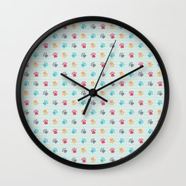 Paw Prints Wall Clock
