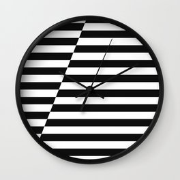 Black and White Offset Stripes Wall Clock