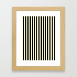 Cream Yellow and Black Vertical Stripes Framed Art Print