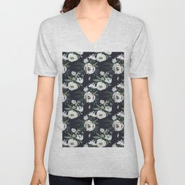 Blush pink white green black watercolor modern floral Unisex V-Neck