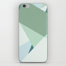 Modern abstract beach color block geometric stripes blue green pattern iPhone Skin