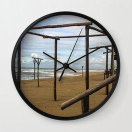 Winter beach Wall Clock