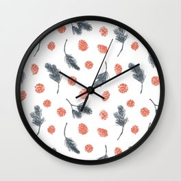 Pine and pinecone seamless pattern design terracotta white and charcoal Christmas feeling Wall Clock