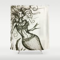 sassy Shower Curtains featuring Sassy Mermaid by OnceUponAWonderland