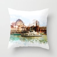 finland Throw Pillows featuring Helsinki city panorame, Finland by jbjart