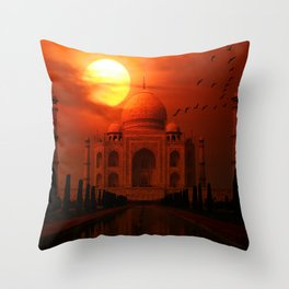 Taj Mahal Sunset Throw Pillow