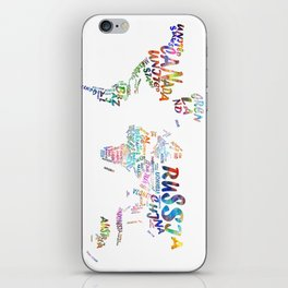 world map watercolor typography 1 iPhone Skin