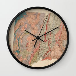Vintage Connecticut Geology Map (1906) Wall Clock
