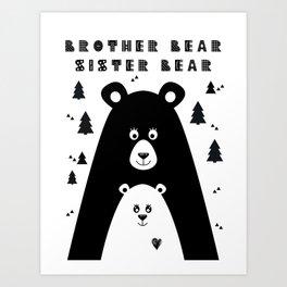 Brother Bear and Sister Bear Minimalist Poster v3 Art Print