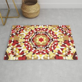 Red Radial Triangles Pattern Rug