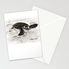Baby Turtle Hatchling (Charcoal) Stationery Cards