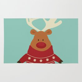 Rudolph Red Nosed Reindeer in Ugly Christmas Sweaters Rug