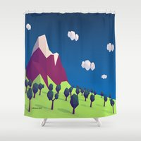 low poly Shower Curtains featuring Low-Poly Mountain by Jorge Antunes