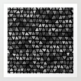 Triangle Watercolor Seamless repeating Pattern - Black and White Art Print