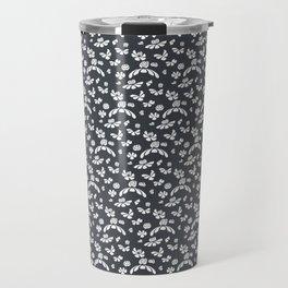 Gray Floral Travel Mug