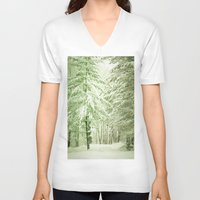 narnia V-neck T-shirts featuring Winter Pine Trees by Olivia Joy StClaire