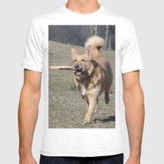 Running Dog Mens Fitted Tee White MEDIUM