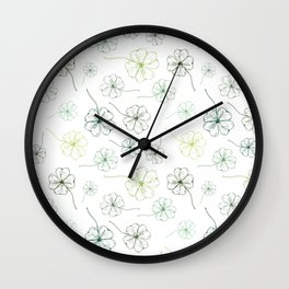 Clover. Green four leaf clover leaves on a white background. Natural pattern Wall Clock