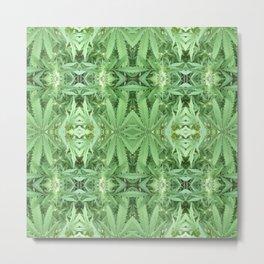 Marijuana Pot Plant Abstract Pattern 420 Metal Print