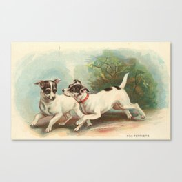 Classic, preppy, vintage jack russell fox terrier dog puppy antique illustration art print Canvas Print