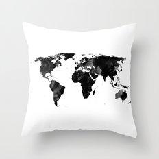 Black watercolor world map Throw Pillow
