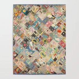 Vintage Japanese matchbox collage Poster