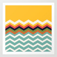 Retro Chevrons Art Print